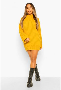Yellow Petite Oversized Rib Knit Jumper Dress