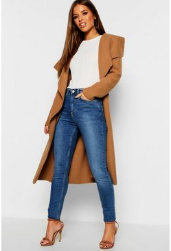 Camel Petite Waterfall Wool Look Duster