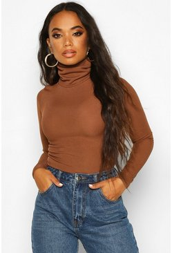 Chocolate Petite Rib Long Sleeved Turtle Neck Top
