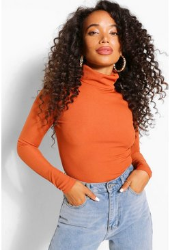 Rust Petite Rib Long Sleeved Turtle Neck Top