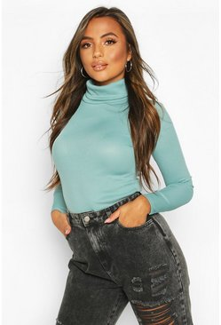 Turquoise Petite Rib Long Sleeved Turtle Neck Top