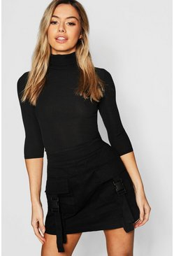 Black Petite Rib Turtle Neck Three Quarter Sleeve Top