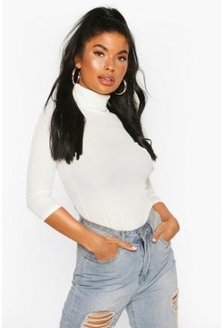 Ivory white Petite Rib Turtle Neck Three Quarter Sleeve Top