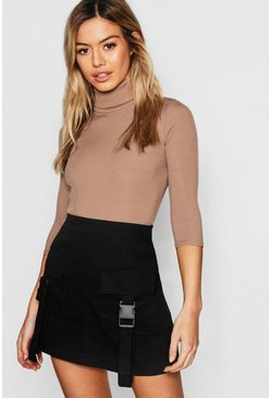 Mocha beige Petite Rib Turtle Neck Three Quarter Sleeve Top