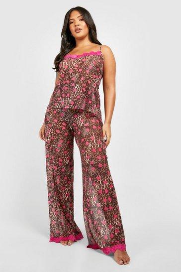 Brown Plus Gemma Collins Chiffon Leopard Lace Trim PJ Set