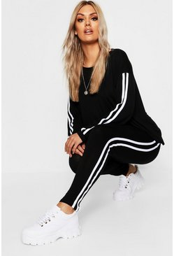 Plus Side Stripe Loungewear Set, Black Чёрный