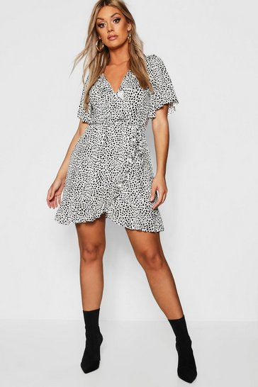 Ivory white Plus Dalmatian Print Ruffle Tea Dress