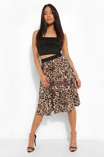 Brown Petite Leopard Print Pleated Midi Skirt