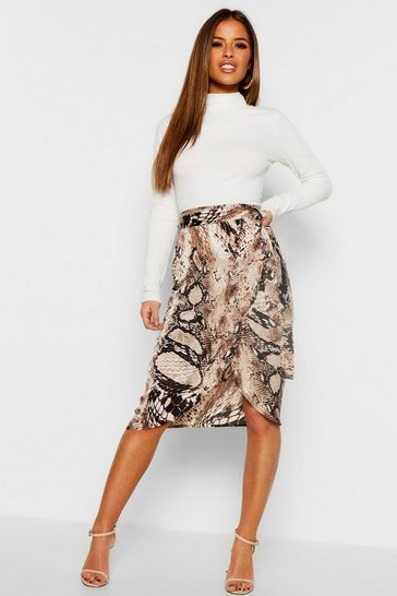 Tan brown Petite Satin Snake Print Midi Skirt