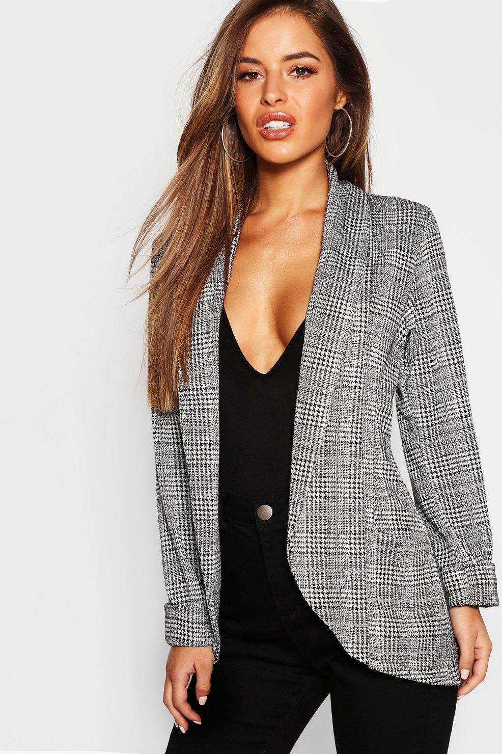 Petite Coats & Jackets Petite Check Pocket Detail Blazer