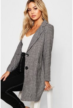 Black Petite Dogtooth check Oversized Wool Look Coat