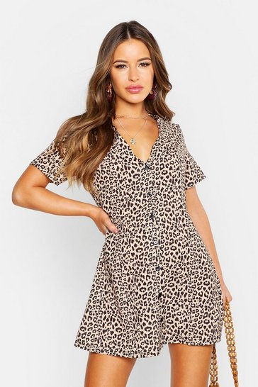 Brown Petite Leopard Print Button Shift Dress