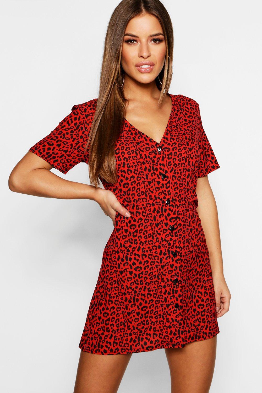 Petite Dresses Petite Leopard Print Button Shift Dress