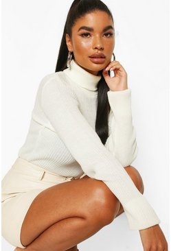Ivory white Petite Rib Knit Turtleneck Sweater