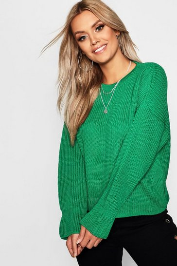 Emerald Plus Cuff Detail Fisherman Jumper