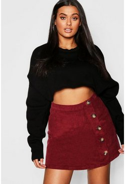 Berry red Plus Cord Horn Button Skirt