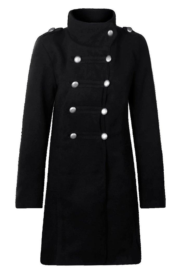Petite Military Wool Look Coat | Boohoo