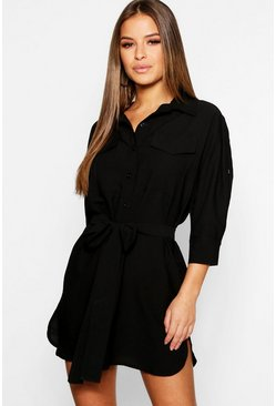Black Petite Utility Shirt Dress