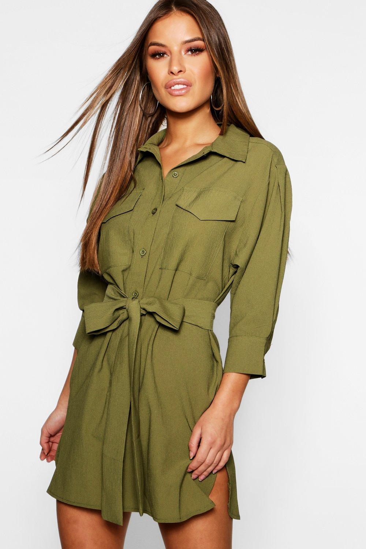 Petite Utility Shirt Dress | boohoo