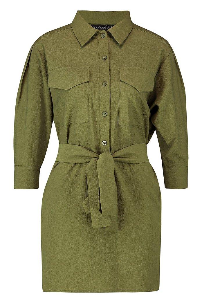 Skjortklänning i utilitymodell med midjebälte | boohoo SE