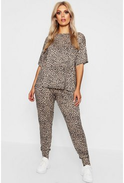 Brown Plus Leopard Loungewear Set