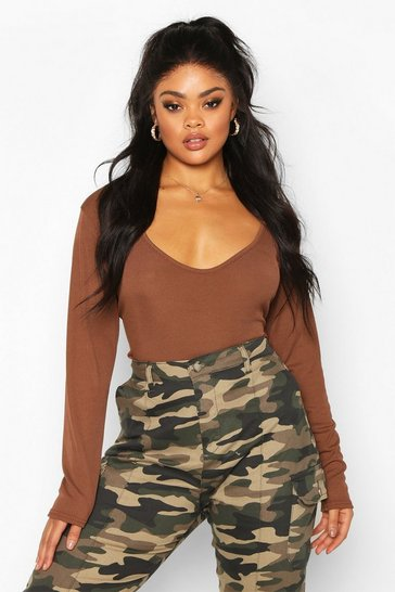 Chocolate brown Brown Plus Basic Plunge Rib Bodysuit