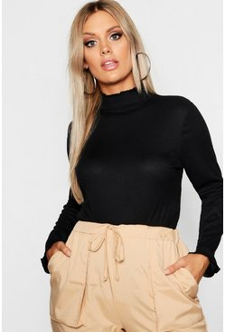 Black Plus Rib High Neck Lettuce Hem Jumper