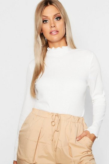 Cream white Plus Rib High Neck Lettuce Hem Jumper