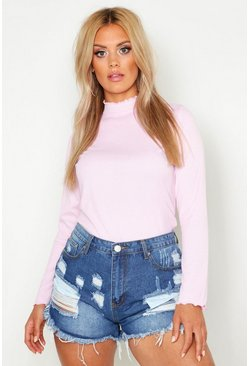 Pale pink pink Plus Rib High Neck Lettuce Hem Jumper