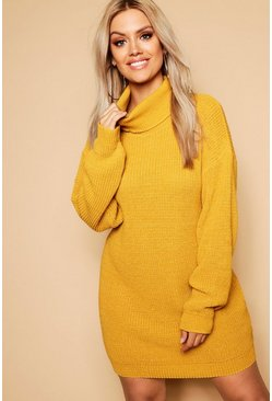 Robe pull col roulé Plus, Moutarde jaune