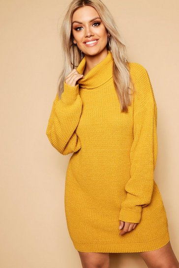 Mustard yellow Plus Roll Neck Jumper Dress