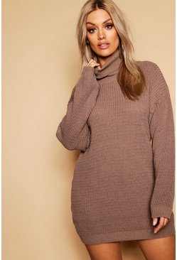 Taupe beige Plus Turtleneck Sweater Dress