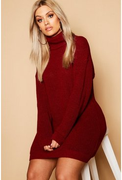 Burgundy red Plus Roll Neck Sweater Dress
