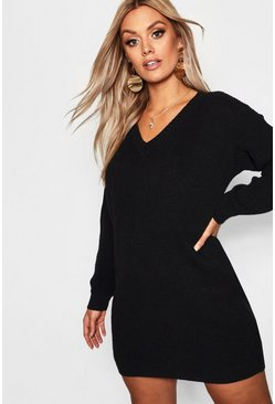 Black Plus Rib V Neck Sweater Dress