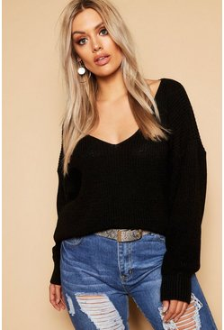 Black Plus Oversized V Neck Jumper
