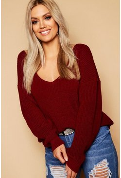 Burgundy red Plus Oversized V Neck Jumper
