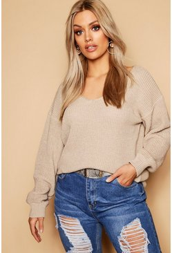 Sand beige Plus Oversized V Neck Jumper