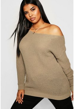 Taupe Plus Slash Neck Fisherman Sweater