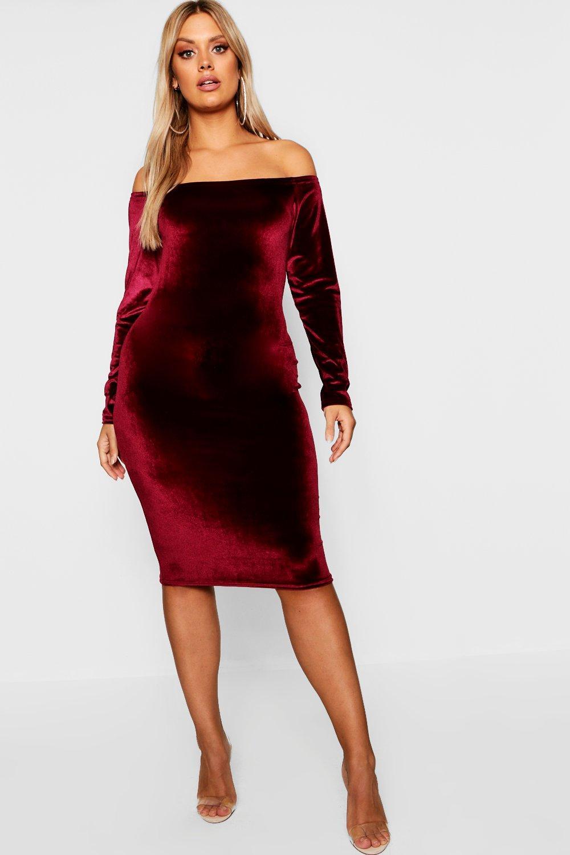 Plus Bardot Velvet Midi Dress 8