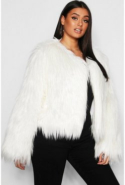 Cream white Plus Shaggy Faux Fur Jacket