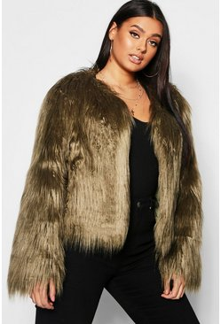 Khaki Plus Shaggy Faux Fur Jacket