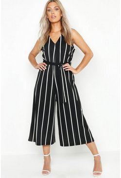 Black Plus Stripe Culotte Belted Jumpsuit