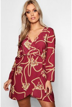 Berry red Plus Chain Printed Wrap Dress