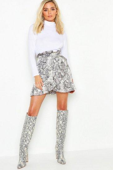 Grey Petite Ruffle Wrap Snake Print Mini Skirt