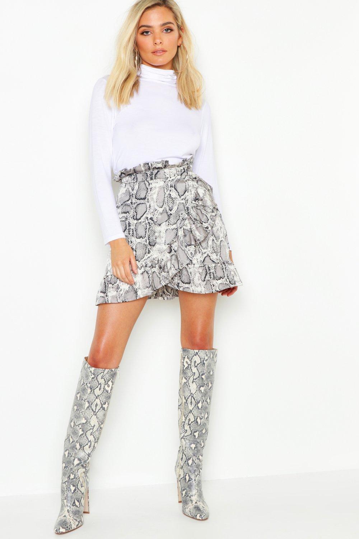Petite Skirts Petite Ruffle Wrap Snake Print Mini Skirt