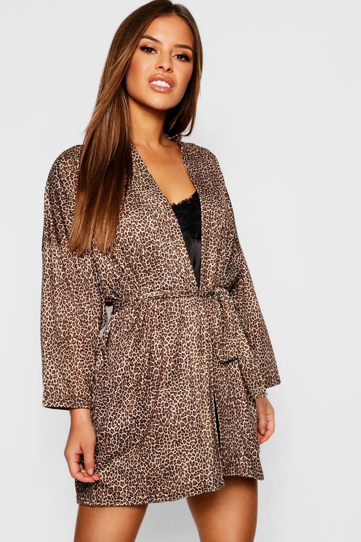 Petite Leopard Print Robe Boohoo