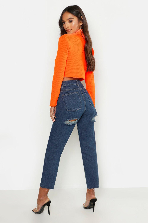 Jeans De Pierna Recta Y Rotos Por Detras Petite Boohoo