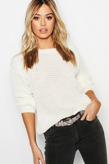 Cream white Petite Off The Shoulder Waffle Knit Jumper