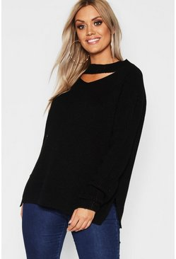 Black Plus Choker Side Split Jumper