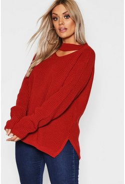Rust Plus Choker Side Split Sweater